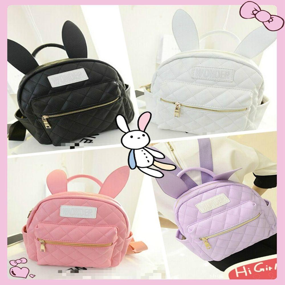 Harajuku Bunny Ears Backpack Wonderland Rabbit Pastel Small Bag Angel Pu lovely