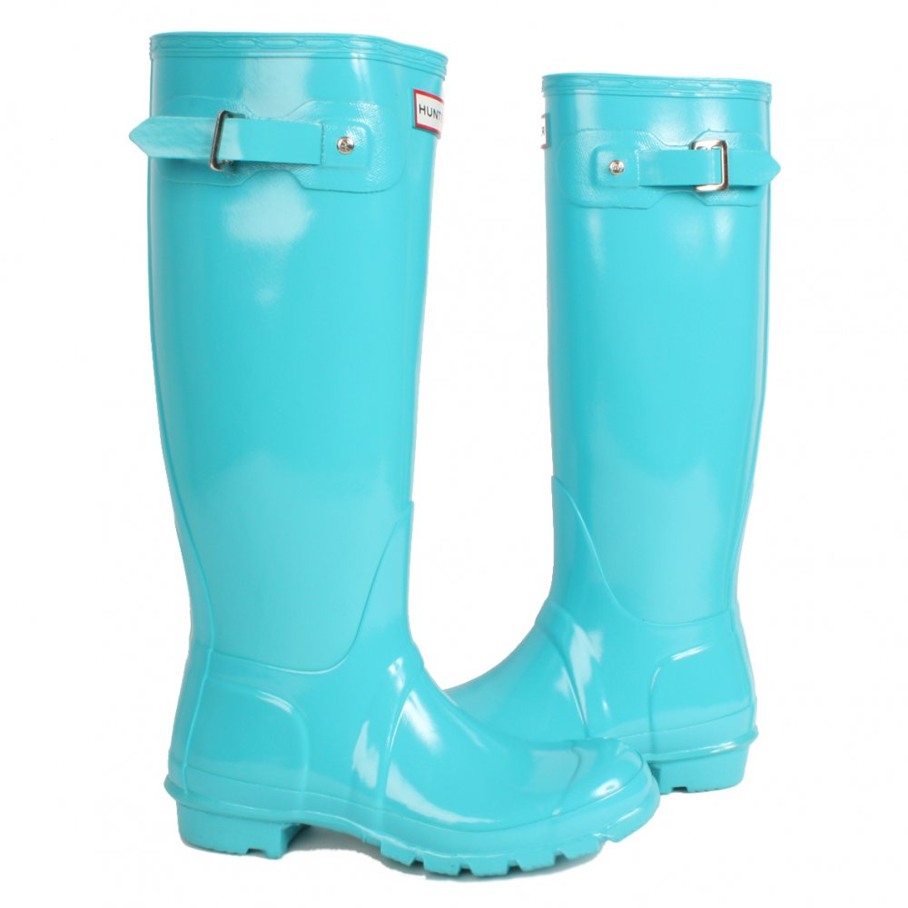 Buy Hunter Ladies Original Gloss Tall Wellies in Turquoise at Hurleys
