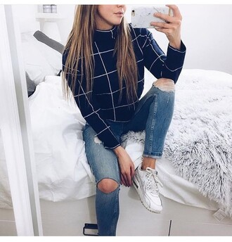 jeans shirt black and white knit high neck long sleeves cropped