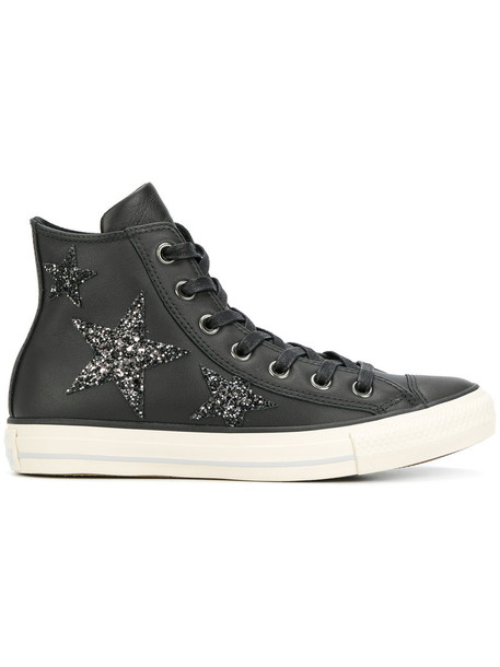 converse women embellished sneakers leather cotton black shoes