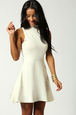 Jess high neck sleeveless skater dress at boohoo.com