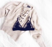 sweater,whith lace sweather,white,tight,loose,lace up jumper,cashmere jumper,tumblr,winter outfits,fashion,tumblr sweater,blouse