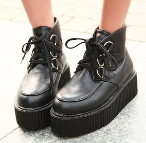 Ladies Lace UP Punk Gothic Rock High Platform Creepers Shoes Ankle Boots S2 | eBay