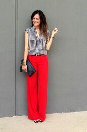 pants,top,black bag,red pants,striped top,bag,belt,black belt,spring outfits,office outfits