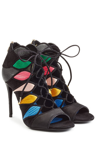 sandals lace leather multicolor shoes