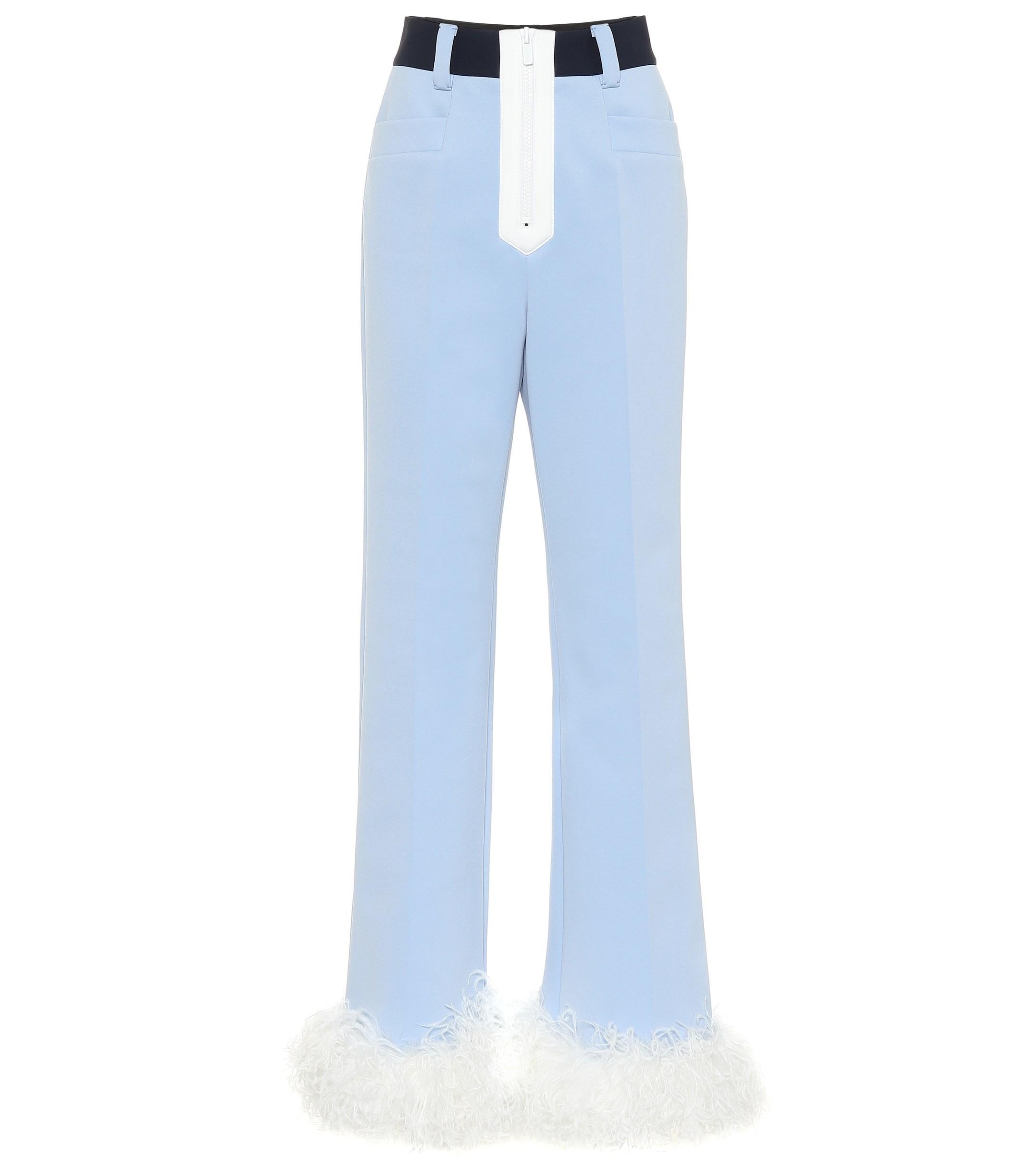 bea1ae65693d9 Miu Miu - Blue Feather-trimmed Tech-jersey Pants - Lyst