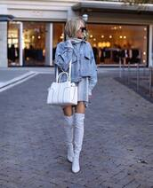 jacket,denim jacket,over the knee boots,oversized sweater,white bag,black sunglasses