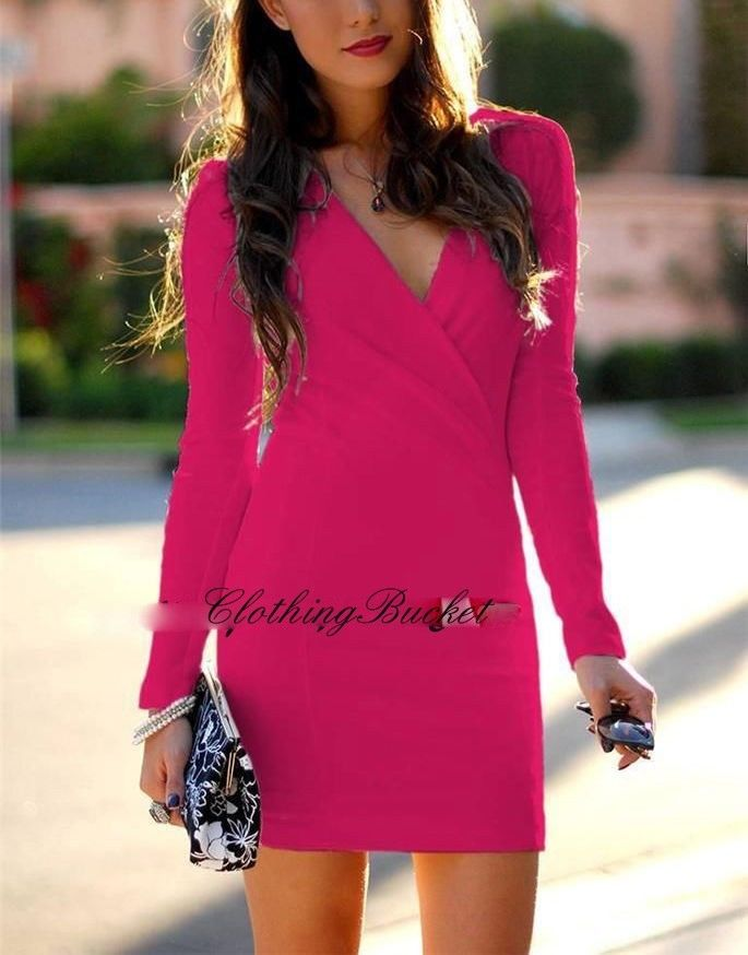 DATE NIGHT HOT PINK CROSS OVER FRONT RUCHED HOT PINK LONG SLEEVE DRESS MEDIUM