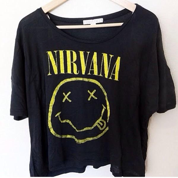 shirt band band yellow black tumblr weheartit girl girly nirvana nirvana t-shirt
