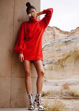 dress red dress red mini dress turtleneck turtleneck dress long sleeve dress shay mitchell ankle boots metallic metallic shoes silver sunglasses instagram shoes