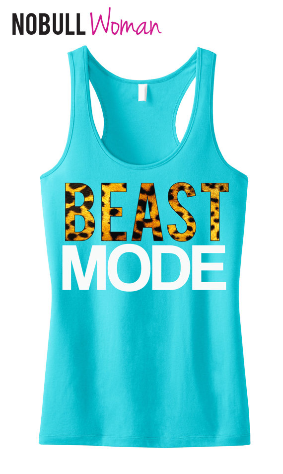 BEAST MODE Leopard on Teal Workout Tank Top by NobullWomanApparel