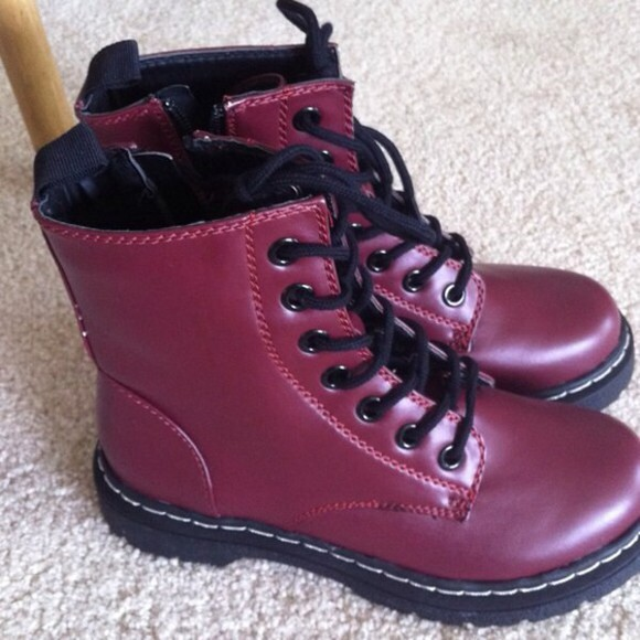 shoes combat boots burgundy
