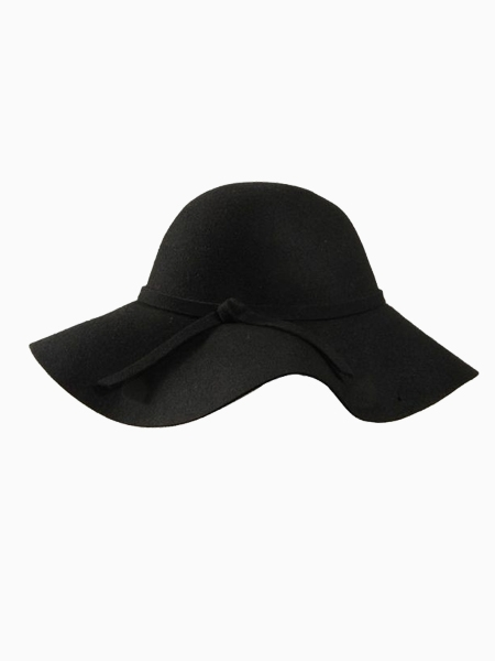 Black Felt Fedora With Wave Hem | Choies