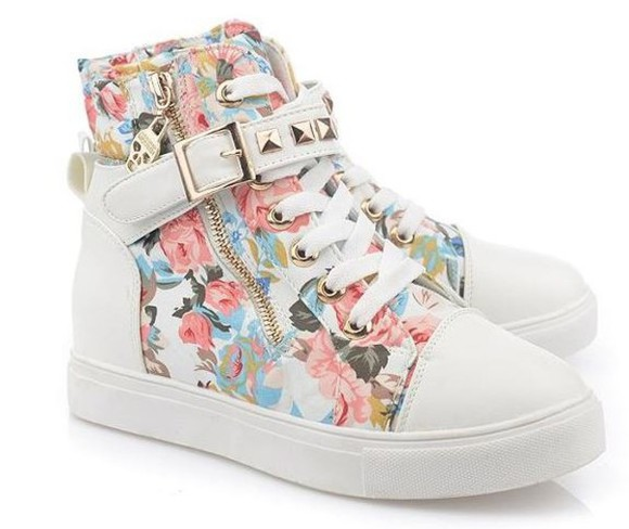shoes studded shoes floral flower print