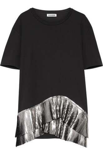 top pleated metallic black