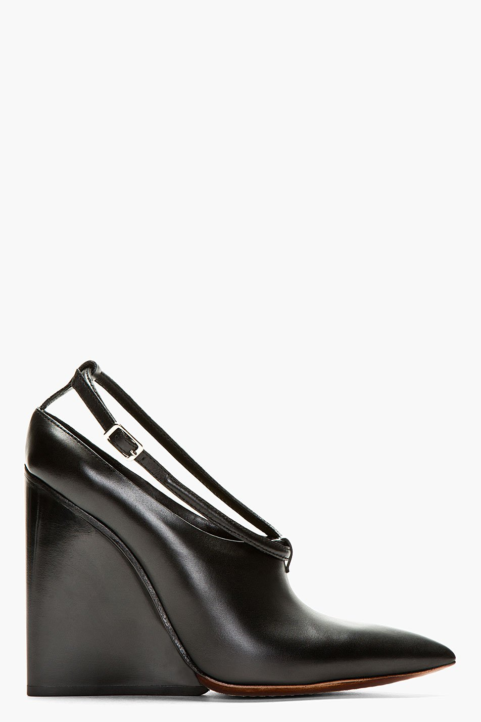 Costume national black leather point toe wedge heel