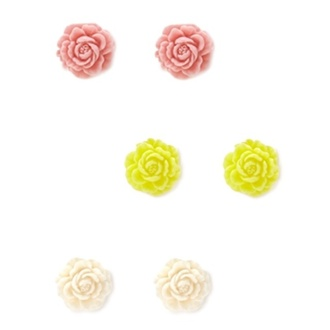 jewels earrings roses pink yellow white pink jewelry yellow jewels white jewels cute girly