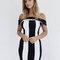 Monochrome stripe off shoulder bodycon mini dress