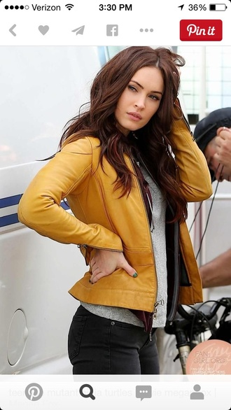 leather jacket mustard megan fox jacket
