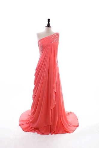 dress chiffon long dress one shoulder chiffon designer dress in coral/mint