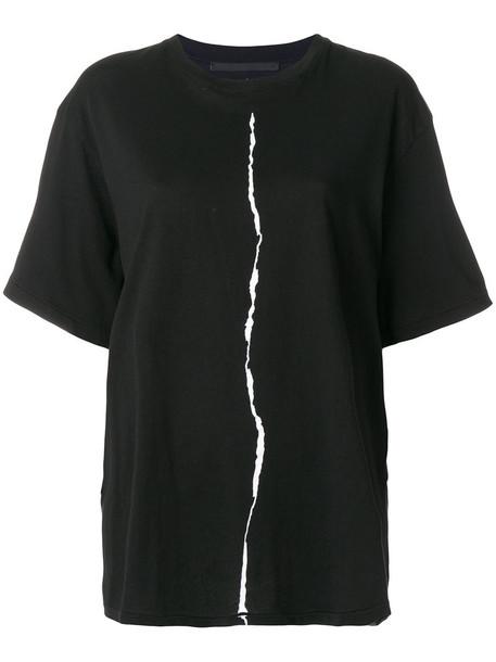 Haider Ackermann - slit print T-shirt - women - Cotton - M, Black, Cotton