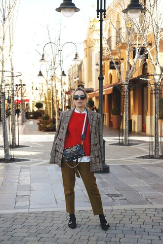 sweater red sweater knitwear knit blazer plaid plaid blazer pants khaki khaki pants sunglasses shoes