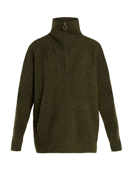Isabel Marant etoile sweater oversized high knit khaki