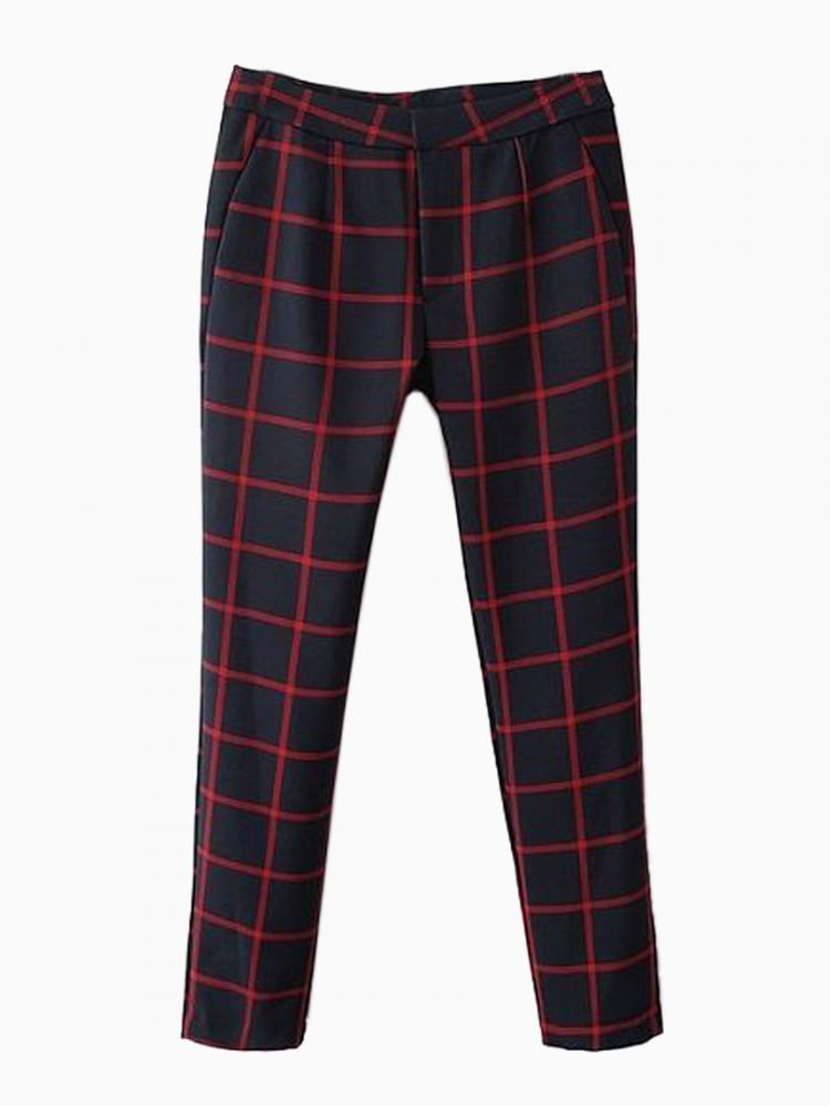 Vintage Plaid Skinny Pants | Choies