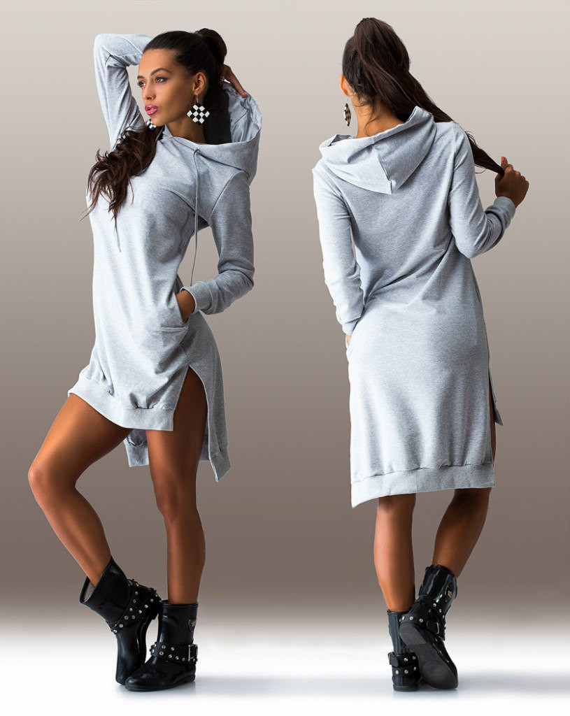 Fancy Shift Asymmetric Hooded Casual Sport Tunic