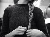 sweater,grey,black,white,black and white,plait,hair,blonde hair,girl,high neck,knitwear,knit,fashion