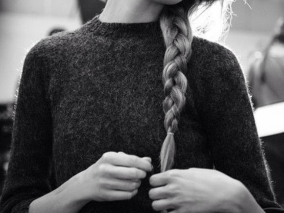 sweater knitted white black knit grey black and white plait hair blonde girl high neck knitwear fashion