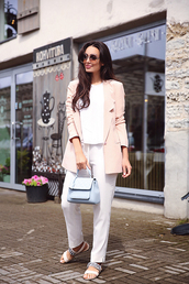 jacket,tumblr,work outfits,office outfits,pants,white pants,sandals,flat sandals,embellished,bag,pastel,shoes,sunglasses