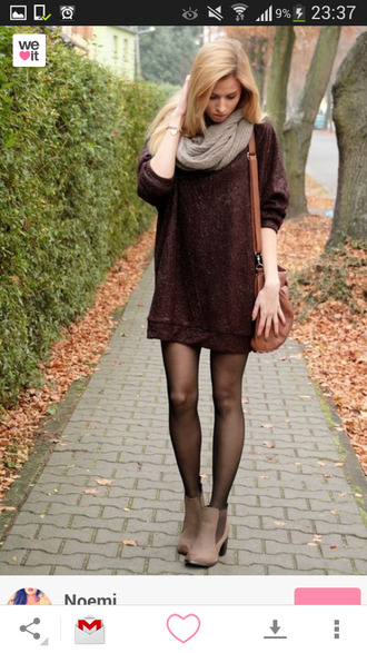 shoes tights bag scarf ankle boots brown no pants