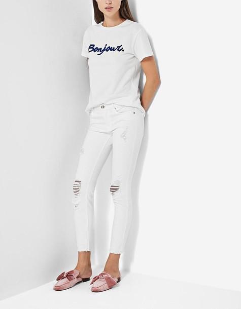 Stradivarius fit white pants