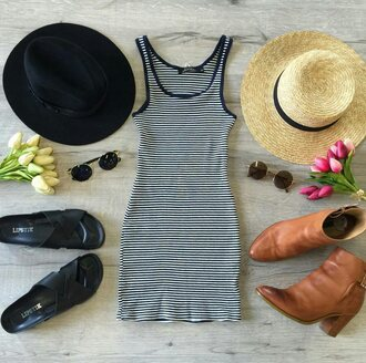 dress muraboutique spring outfits hat sunglasses marine dress boots flip-flops outfit outfit idea