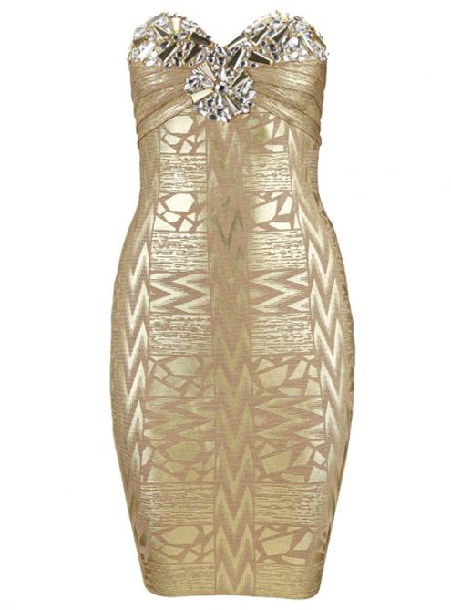 Sexy Strapless Beaded Gold Foil Bandage Dress H469$149