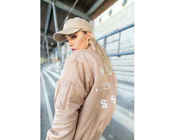 jacket tumblr nude jacket bomber jacket cap all nude everything blogger fanny lyckman hoop earrings beige baseball hat hat