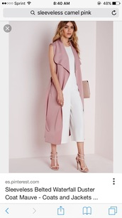 jacket,sleeveless buster,coat,vest,pink coat,sleeveless coat