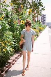 romper,brown bag,tumblr,grey romper,blue romper,sandals,flat sandals,bag,summer outfits,shoes
