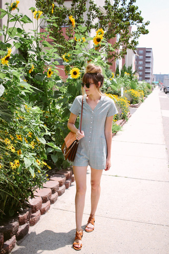 romper brown bag tumblr grey romper blue romper sandals flat sandals bag summer outfits shoes
