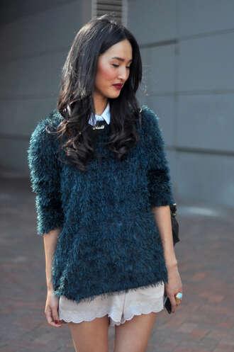 sweater knitwear fluffy blue sweater gary pepper vintage