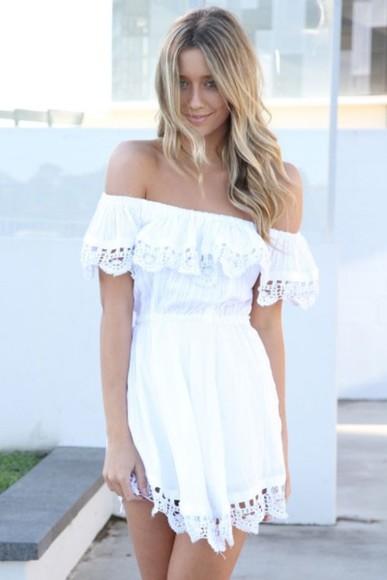 lacetrim off the shoulder dress sabo skirt white white dress lace summer outfits summer dress need for wedding