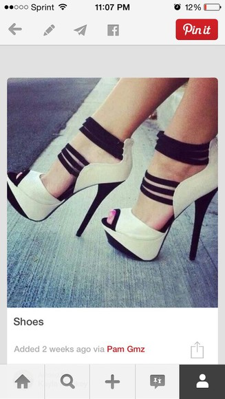 color block black shoes high heels white stillettos