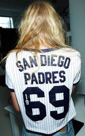t-shirt,jersey,1969,san diego padres,pin stripes,white,navy,women,sports tee,shirt,baseball jersey