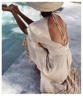 dress,long,long dress,short sleeve,short sleeve dress,summer,summer dress,summer outfits,spring,spring dress,spring outfits,nude,nude dress,brown,brown dress,backless,backless dress,cut-out,cut-out dress,striped dress,stripes,elegant,elegant dress,beach,beach dress