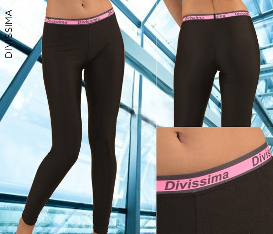 Pantaloni Sport Neri Logo Fucsia - Divissima