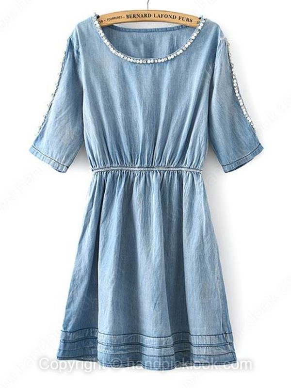 denim dress blue dress summer dress summer denim pretty chic denim shirt jean dress embellished dress
