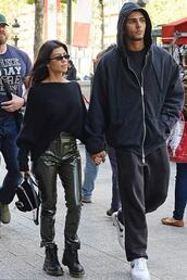 pants,sweater,all black everything,kourtney kardashian,kardashians,fall outfits,Paris Fashion Week 2017,streetstyle,one shoulder