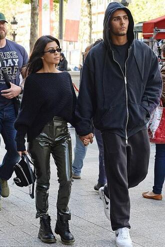 pants sweater all black everything kourtney kardashian kardashians fall outfits paris fashion week 2017 streetstyle one shoulder