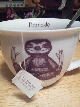 jewels namaste sloth not actually clothing mug tea meditation